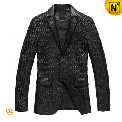 Men S Embroider Real Sheepskin Leather Blazer Jacket
