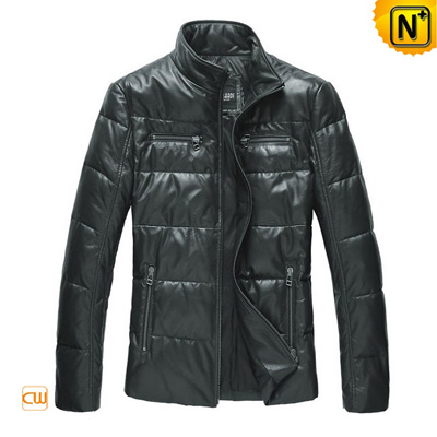 Men S Fashion Zipper Sleeve Leather Down Jacket