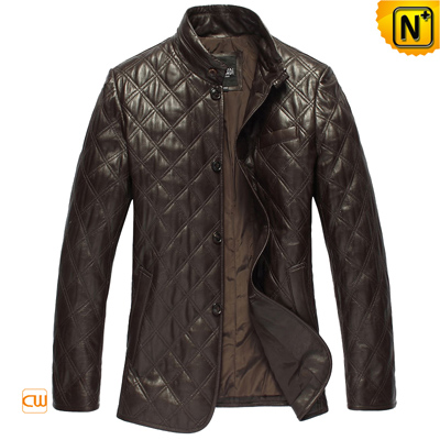 Men S Slim Checker Padded Sheepskin Leather Coat