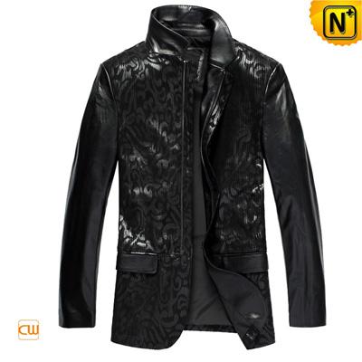 Men S Slim Embossed Sheepskin Leather Jacket