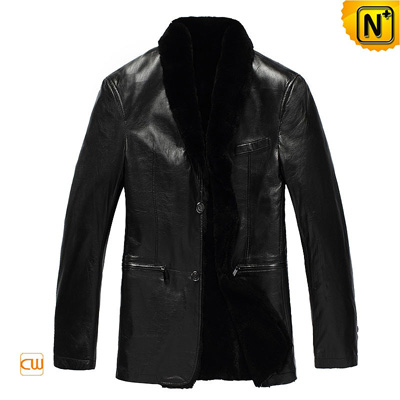 Men S Slim Genuine Black Fur Lined Sheepskin Coat