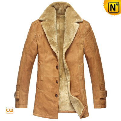 Men S Slim Lamb Fur Lined Cowhide Leather Trench Coat