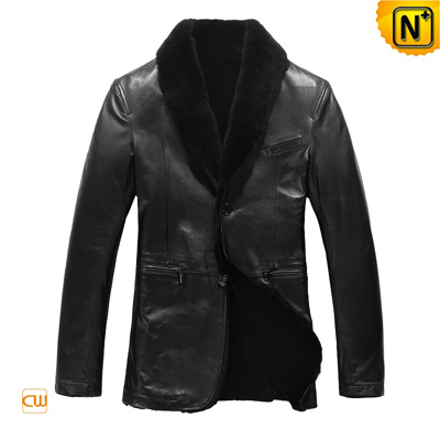 Men S Slim Lamb Fur Lined Sheepskin Leather Blazer Jacket