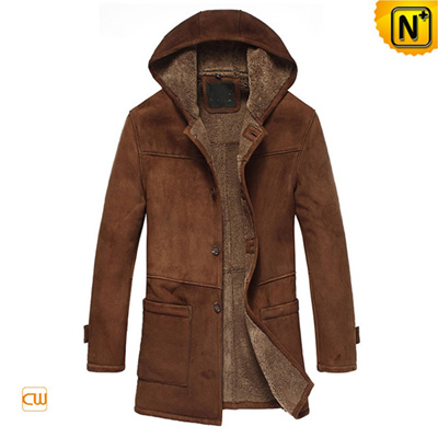 Mens Casual Fur Lined Sheepskin Leather Coat With Hood