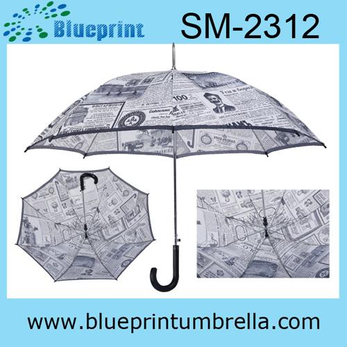 Metal Frame Stick Rain Paper Umbrella