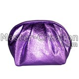 Metallic Leather Bag Purple Makeup Cosmetic Toiletry Wrinkle