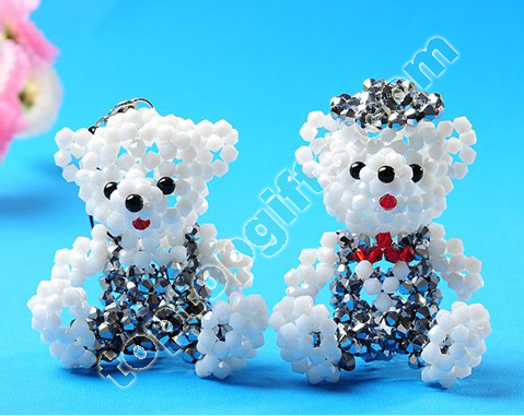 Mini Crystal Beaded Teddy Bear Charms