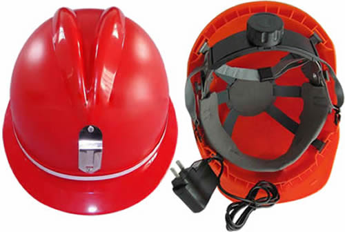 Mining Helmet With Built In Light And Metal Brackets