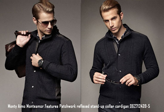 Monty Aimo Monteamor Features Patchwork Reflexed Stand Up Collar Cardigan 062712439 5