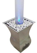 Music Speaker Fountain With Bluetoth Audio In Stainless Steel Base And Circular Bubble Column