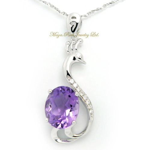 Natural Amethyst Pendant Purple Color 925 Sterling Silver Micro Setting Handmade Elegant Gift