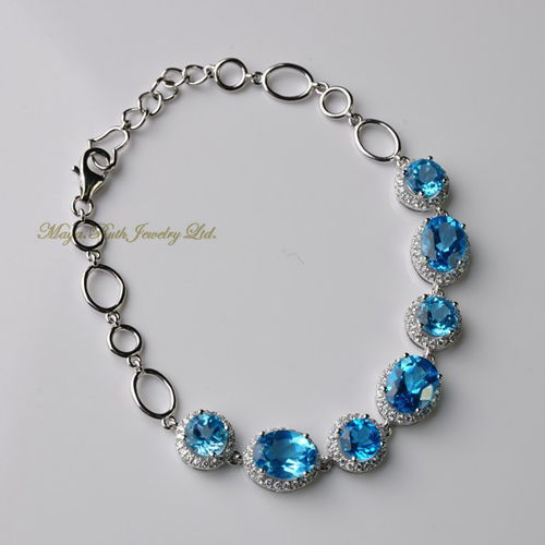 Natural Swiss Blue Topaz 925 Sterling Silver White Gold Plated Micro Setting Elegant Fashion Women G