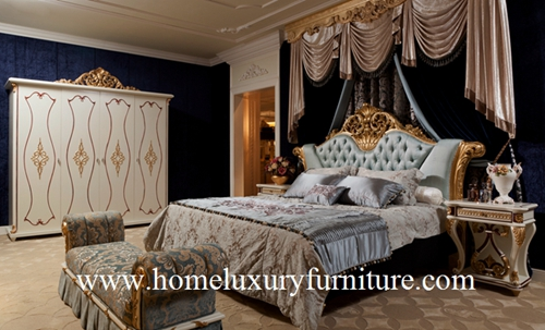 Neo Classical Bed Kingbed Solid Wood Factory Bedroom Furniture High Quality Aa 301l