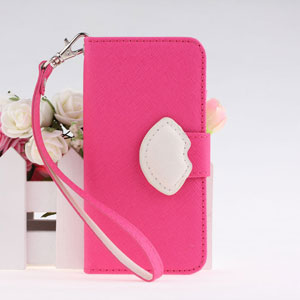 New Design Lip Type Magnetic Buckle Wallet Style Pu Leather Cases Cover For Iphone 5