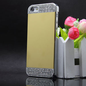 New Design Mirror With Metal Crystal Diamond Case For Iphone 5 5s