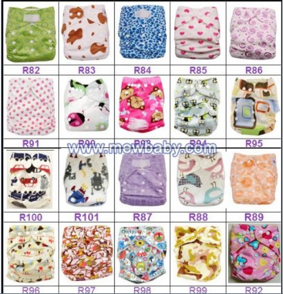 New Printing Mewbaby One Size Pocket Baby Cloth Diapers Nappies