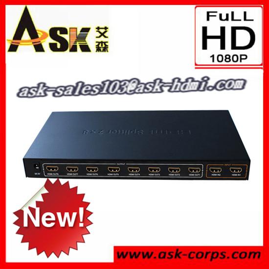 New Sale Hdmi Matrix 2x8 3d 1080p