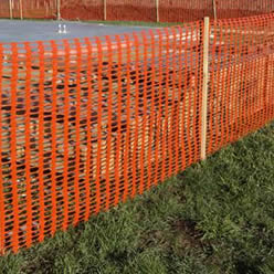 Orange Plastic Snow Fence As Warning Barrier