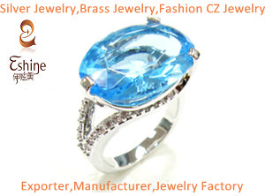 Original Design Fashion Brass Jewelry Ring With Oval Blue Cz Stone