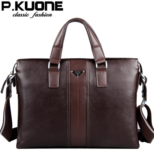 P Kuone 2015 Designer Brand Handbags Shoulder Bags Vintage Genuine Leather Bag Men Business Luxury B