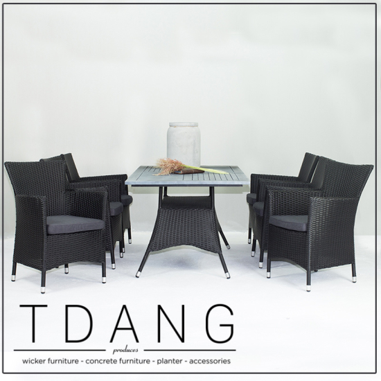 Pasadena 7 Piece Dining Set Black Code Td1007