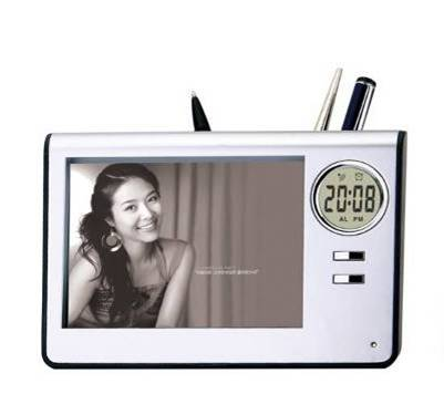 Photo Frame Timepiece Pen Holder Item E006 809