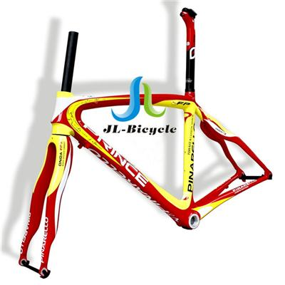 Pinarello Dogma 60 1 Road Bike Carbon Fiber Integrated Frame Fork Seatpost Headset Clamp Yellow Red