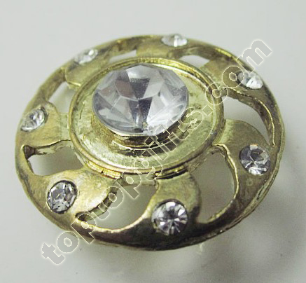 Plain Round Rhinestone Button