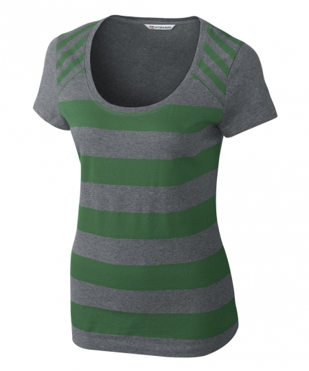 Polos T Shirt For Women In Green Strip