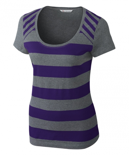 Polos T Shirt For Women In Purple Strip