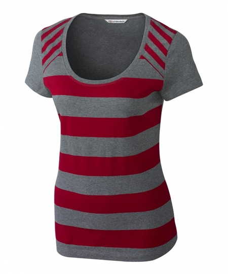 Polos T Shirt For Women In Red Strip