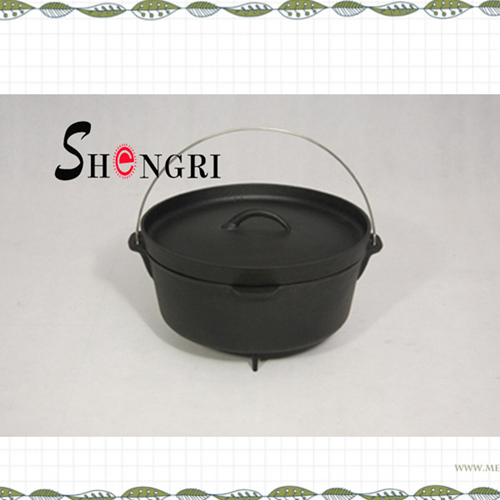 Pre Seasoned 6 Quart Camp Cast Dutch Oven With Iron Lid Camping