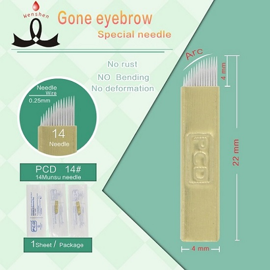 Professional 14 Gold Needle Microblade Permanent Makeup 3d Hair Strokes