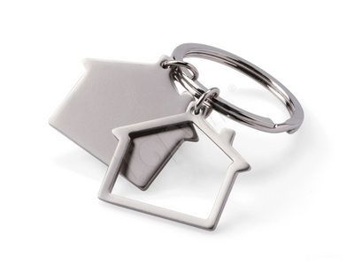 Promotional Metal Keychains Doulb House Shaped