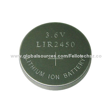 Rechargeable 3 6v Button Cell Li Ion Battery Lir2450 For Watches Hearing Aid Clocks Electric Toys