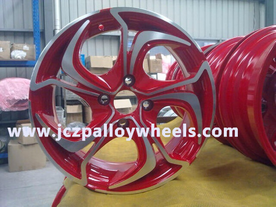 Red Machined Face Alloy Wheels For Car 15x6 5
