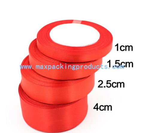 Red Polyester Satin Ribbon For Gift Packaging