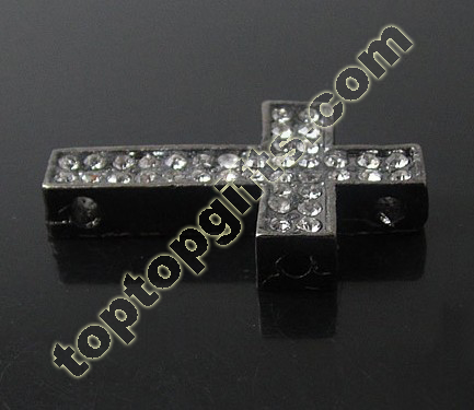 Rhinestone Cross Connection Shamballa Beads