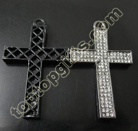 Rhinestone Cross Pendant Catholic Rosary Necklace Crosses