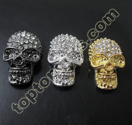 Rhinestone Skull Beads Metal