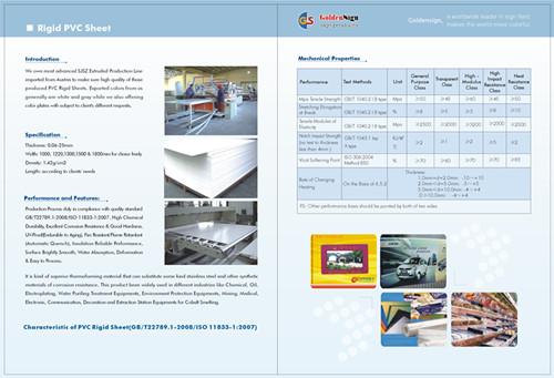 Rigid Pvc Sheet In Shanghai Goldensign Brand