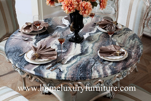 Round Dining Table Furniture 4 Chairs Marble Wood