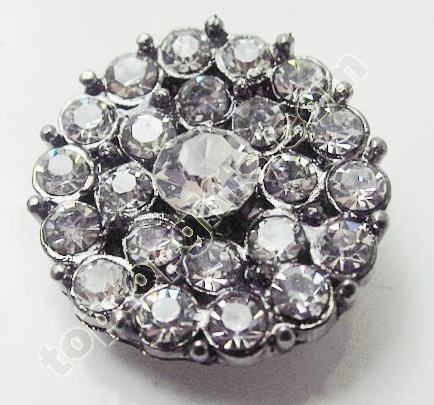 Round Flower Rhinestone Button