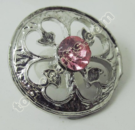 Round Rhinestone Button With Heart Flower