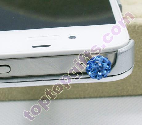 Round Shamballa Rhinestone Phone Dust Stopper