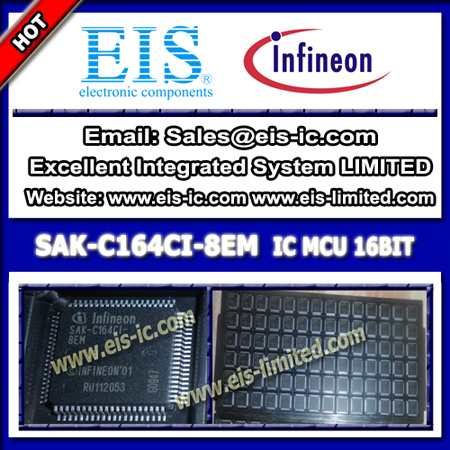 Sak C164ci 8em Infineon 16 Bit Microcontrollers Mcu Ic 64kb Otp Eprom Mqfp 80