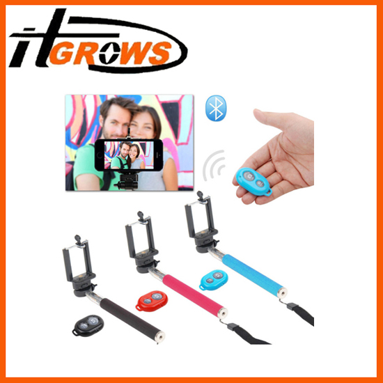 Selfie Monopod Extendable Handheld Holder Bluetooth Remote Control Shutter For Cellphone Cameras