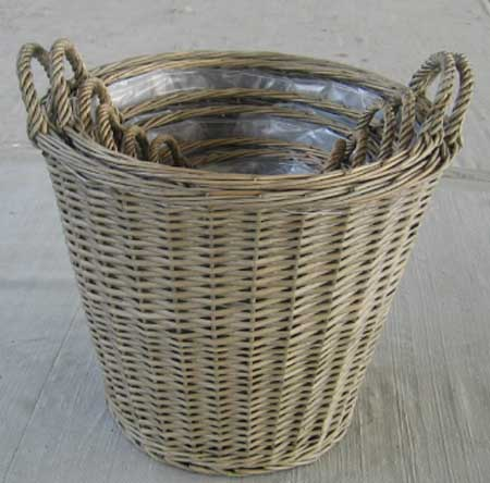 Sell Willow Basket Wicker Garden Vase Planter Decorations Zinc Flower Pot Planters