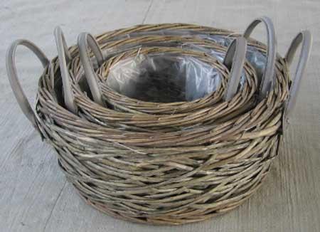 Sell Willow Basket Wicker Garden Vase Planter Zinc Flower Pot