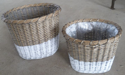 Sell Willow Flower Basket Wicker Garden Pot Planter Zinc